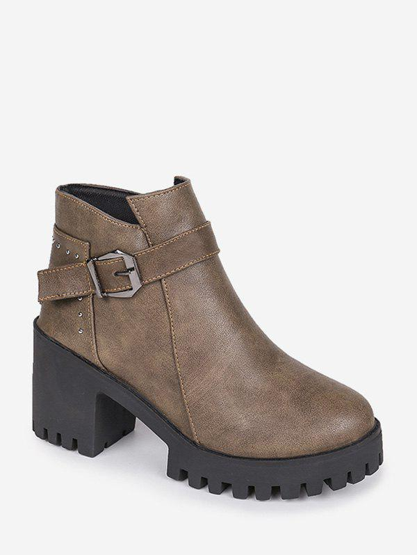 Sale Chunky Heel Buckle and Rivet Embellished PU Leather Ankle Boots