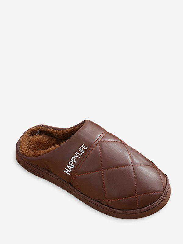Unique Quilted Round Toe Brushed Indoor Slippers