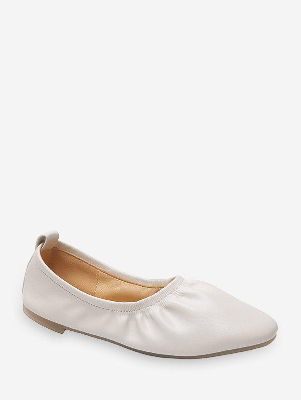 Outfits Ruched Solid Color PU Leather Ballet Flats