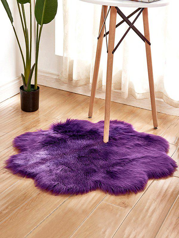 Unique Flower Shape Faux Fur Soft Throw Rug