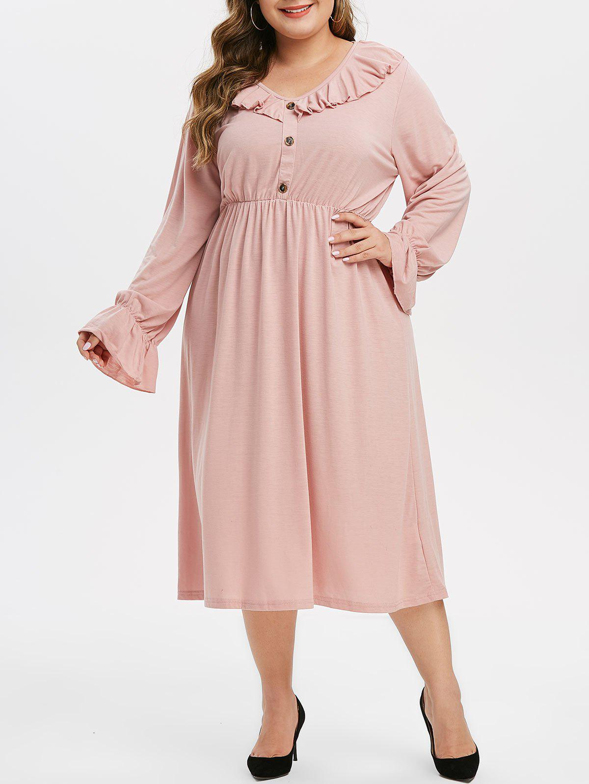 Affordable Plus Size Ruffle Button Embellished V Neck Dress
