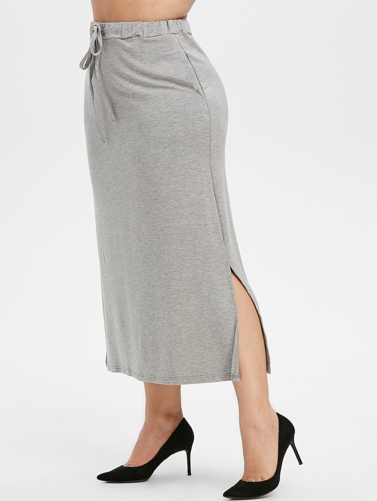Affordable Plus Size Drawstring Maxi Straight Skirt