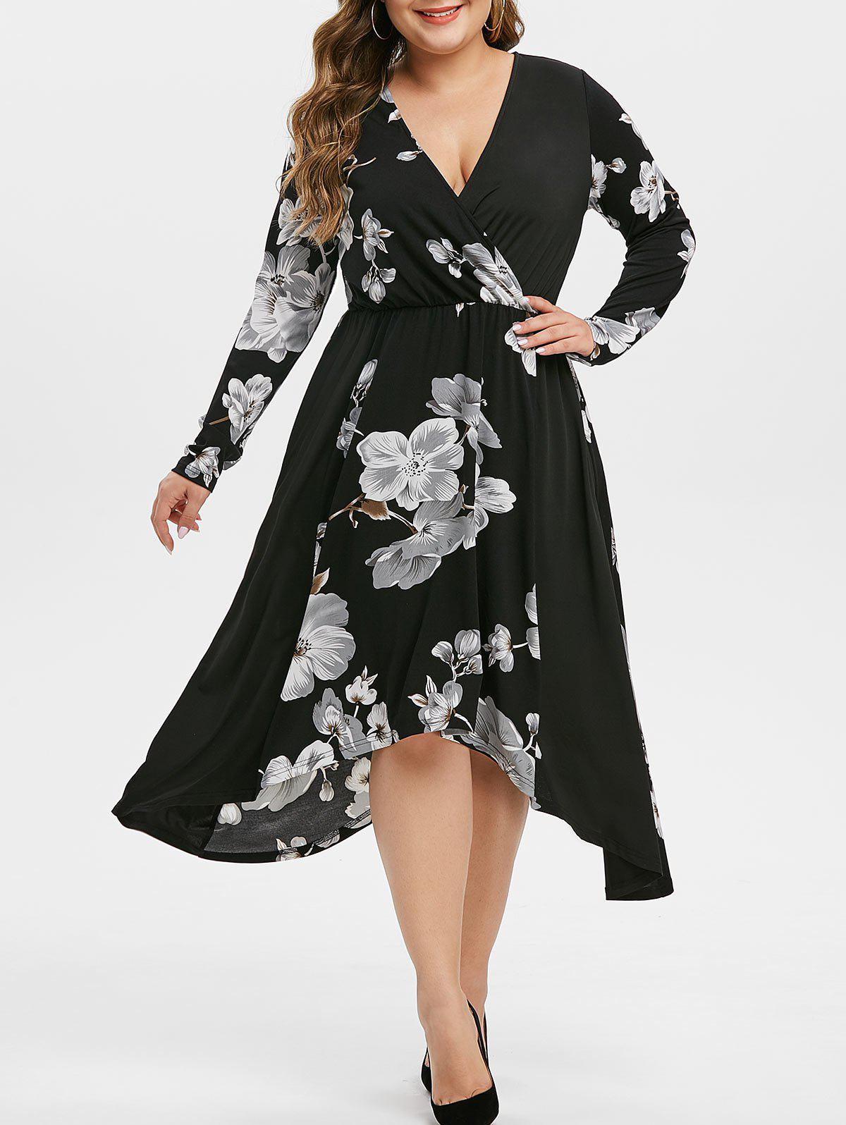 Plus Size Flower Asymmetrical Surplice Dress Rosegal