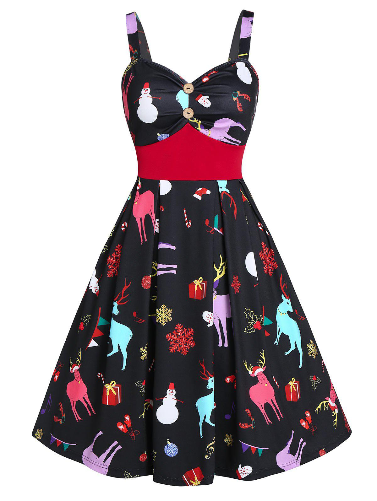 Shops Vintage Sweetheart Neck Christmas Print Pin Up Dress