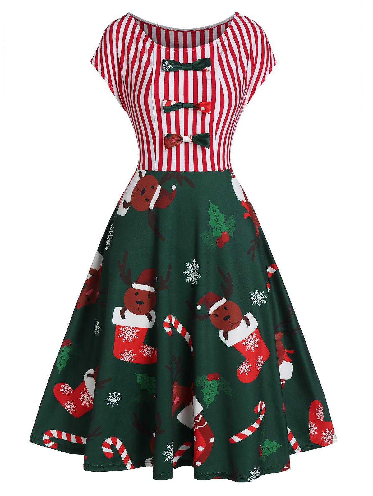 Shops Christmas Stocking Elk Print A Line Bowknot Dress