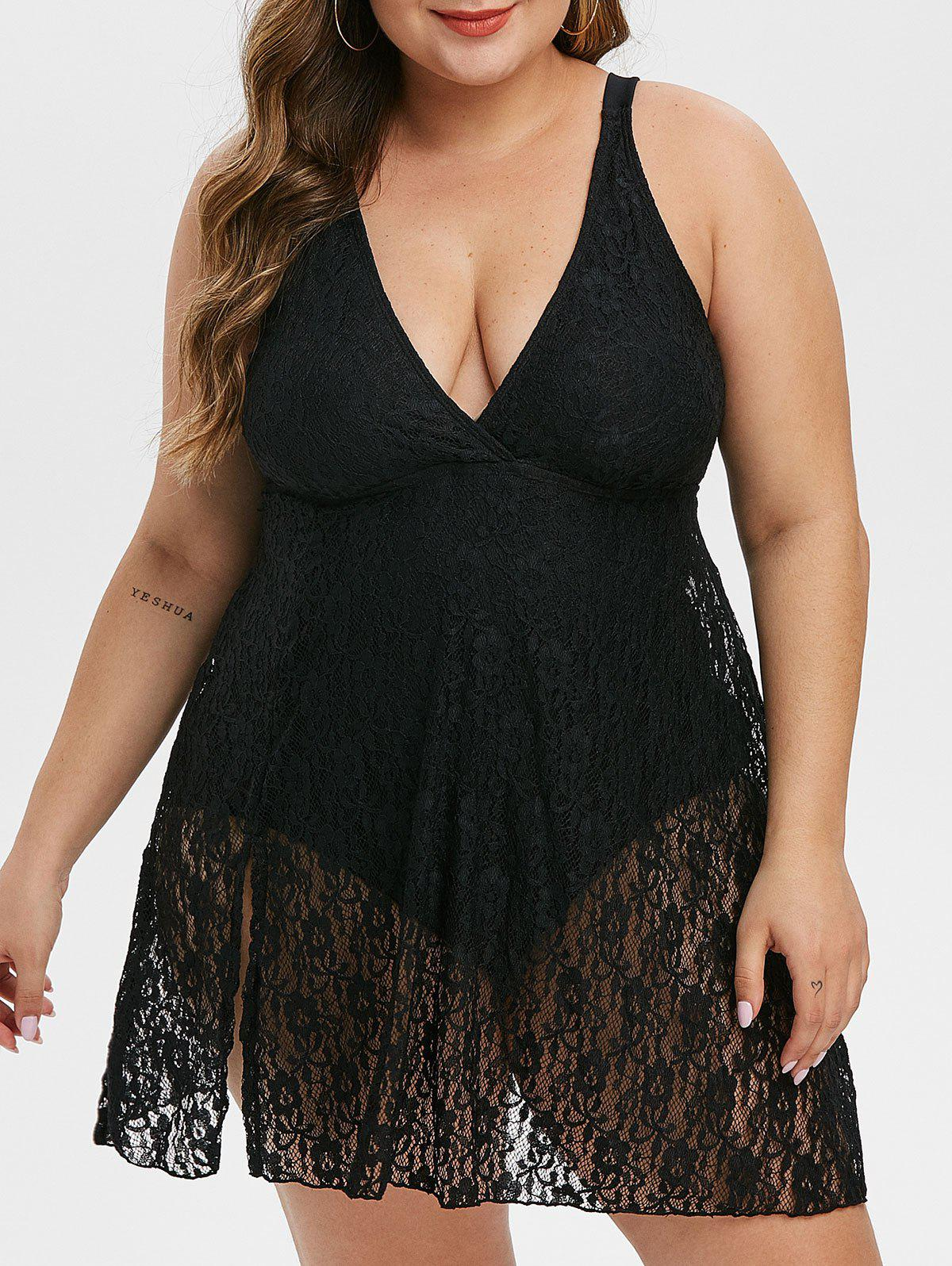 Latest Slit Lace Skirted Plus Size One-piece Swimsuit