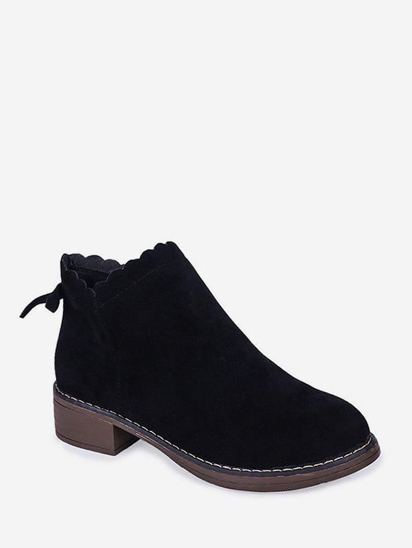 Sale Chunky Heel Bowknot Embellished Suede Ankle Boot