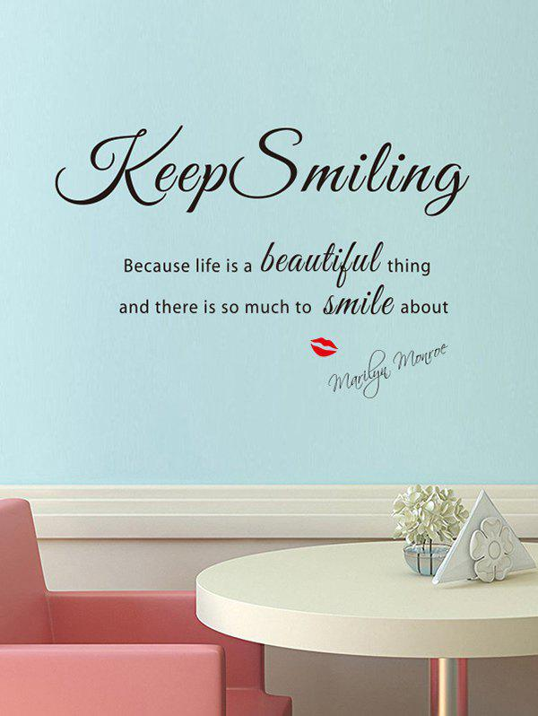Cheap Keep Smiling Pattern Wall Sticker