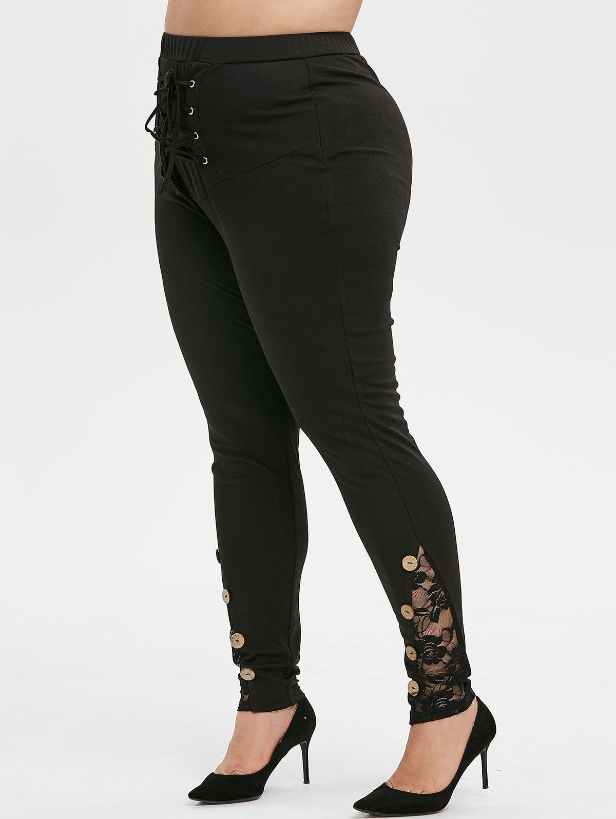 Store Plus Size Lace Up Buttons Tight Leggings