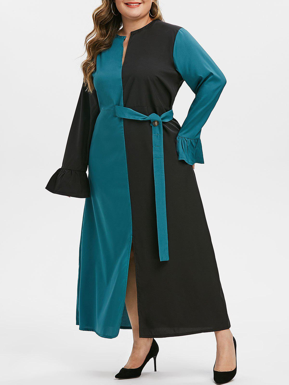 Fashion Plus Size Two Tone Slit Belted Notched Dress
