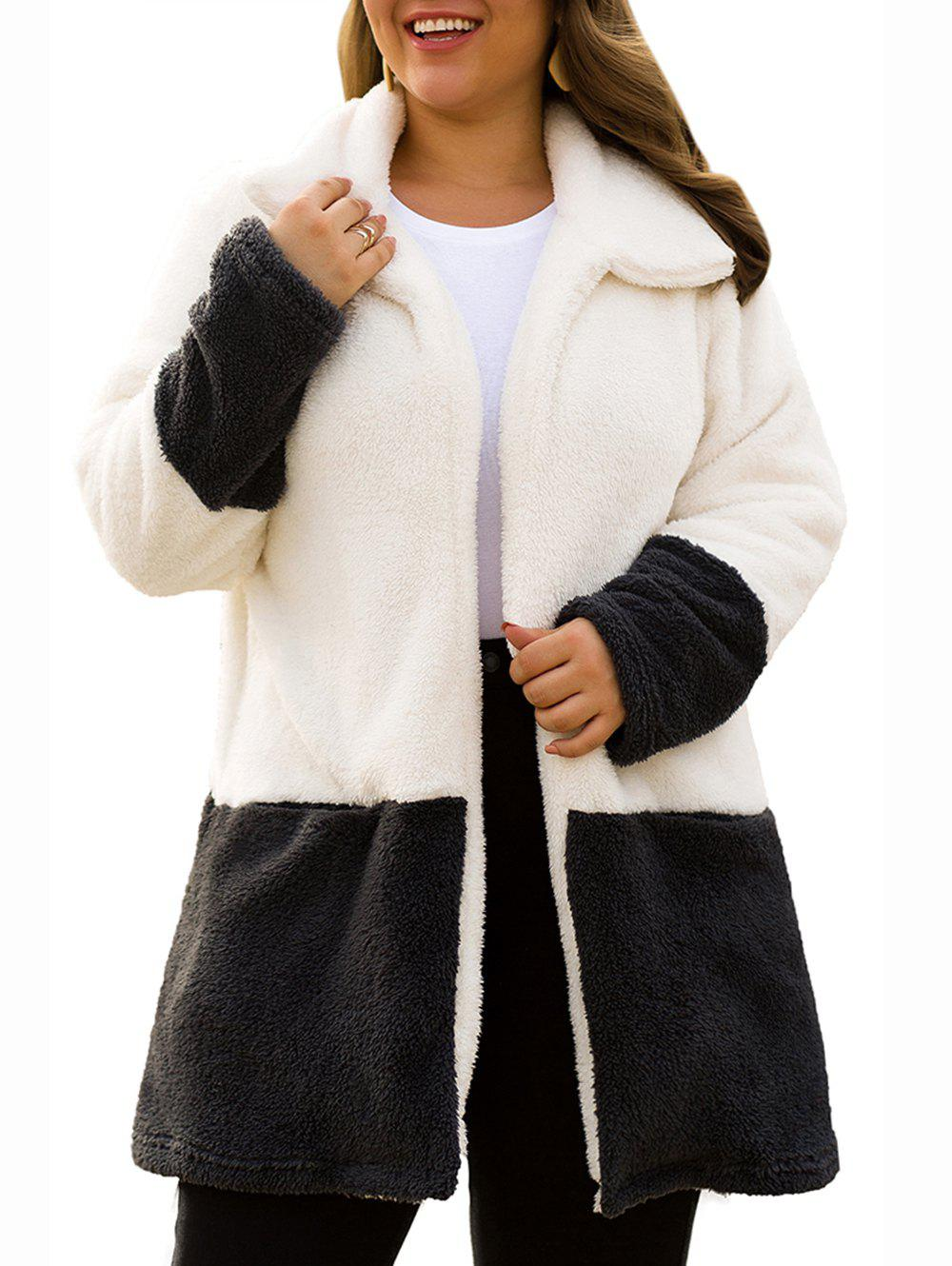 Outfits Plus Size Faux Fur Two Tone Fluffy Coat