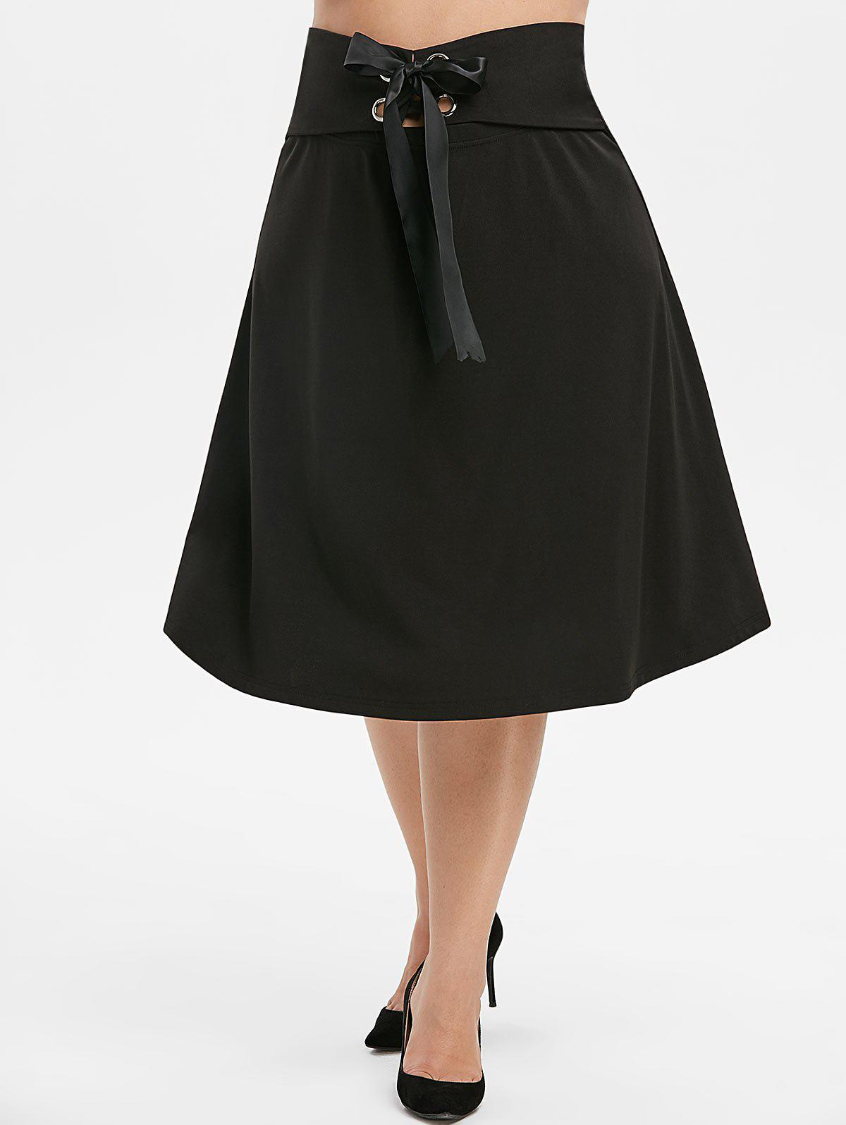 Unique Plus Size Metal Eyelet Bow Tie A Line Skirt
