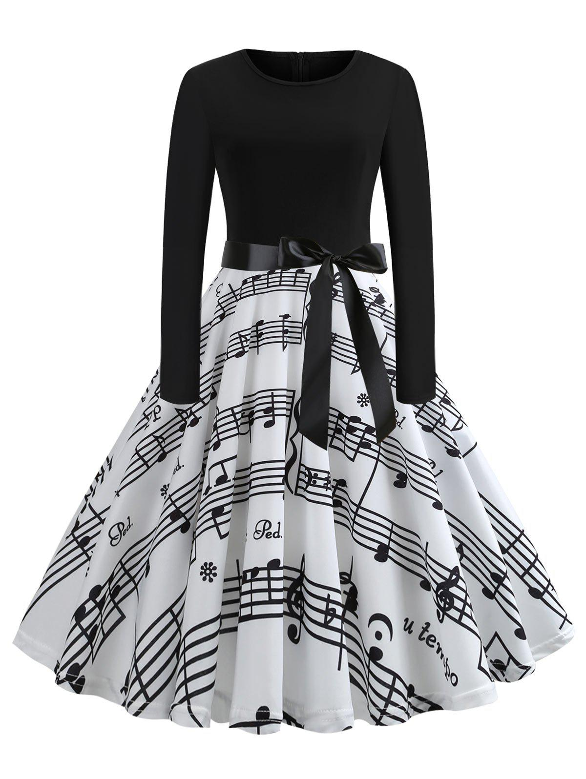 New Plus Size Musical Note Print Vintage Dress