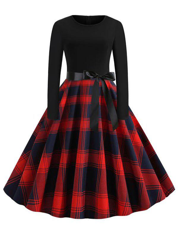 Latest Plus Size Plaid Belted Vintage Dress