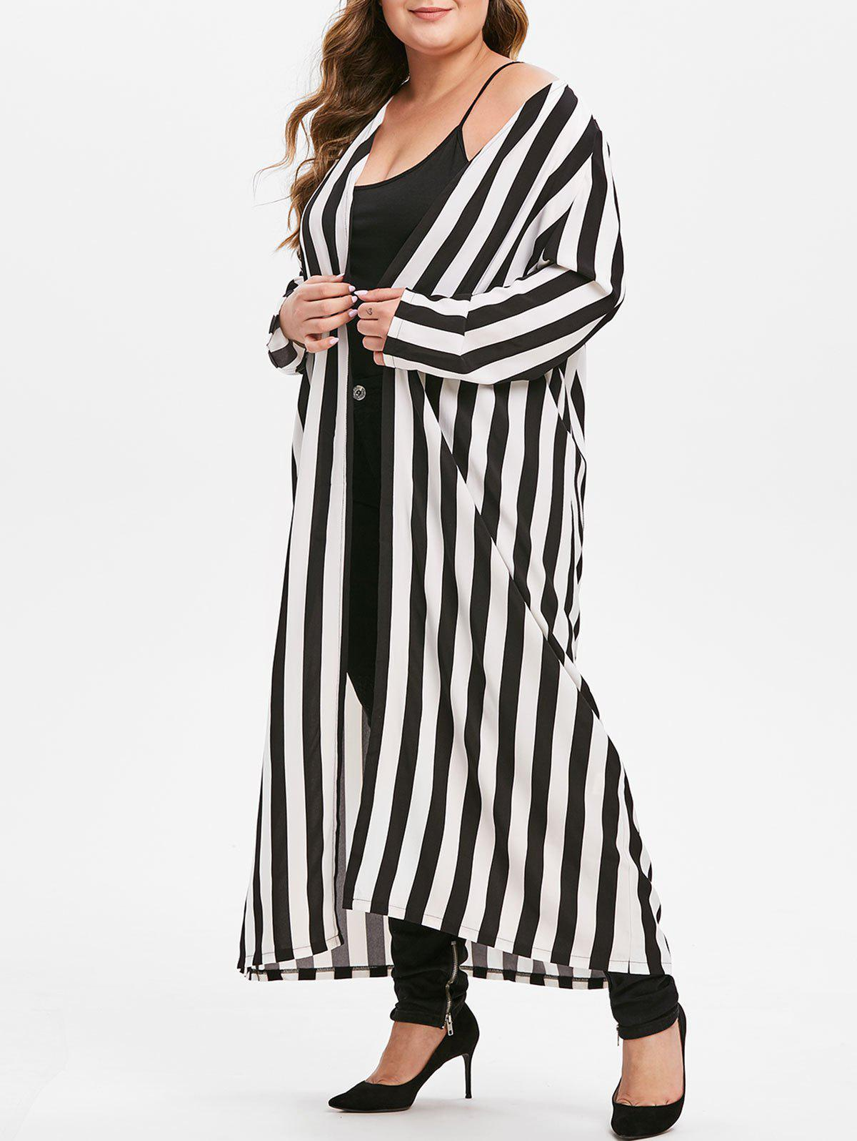 Online Plus Size Striped Longline Open Front Shirt