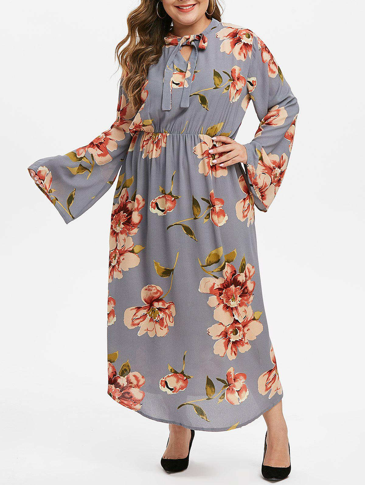 Affordable Plus Size Flower Bow Neck Maxi Dress