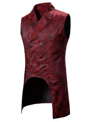 Paisley Jacquard Double Breasted Dovetail Vest