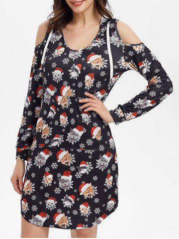 Cold Shoulder Hooded Fit And Flare Cat Print Christmas Dress