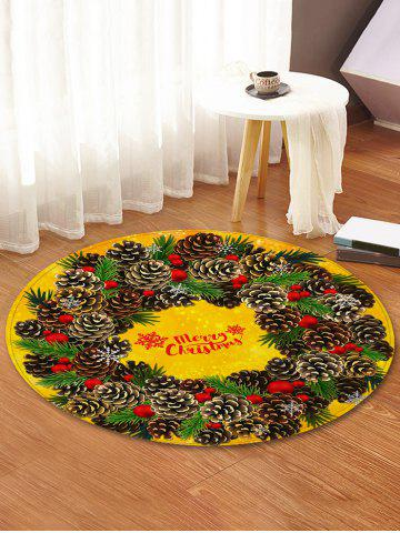 Christmas Pine Cones Greeting Pattern Round Area Rug - FERN GREEN - R47 INCH