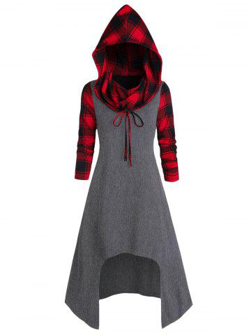 Convertible Hooded Plaid High Low Midi Dress