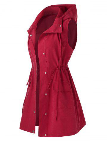 Plus Size Drawstring Lace-Up Hooded Waistcoat - CHERRY RED - 3X