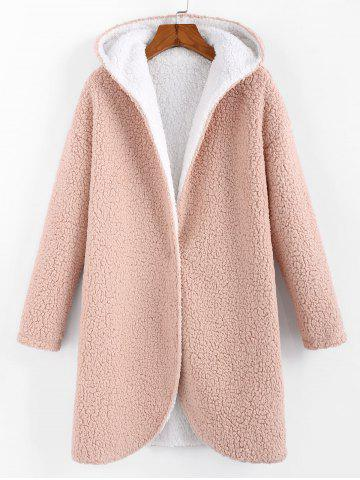 Faux Fur Hooded Longline Teddy Coat