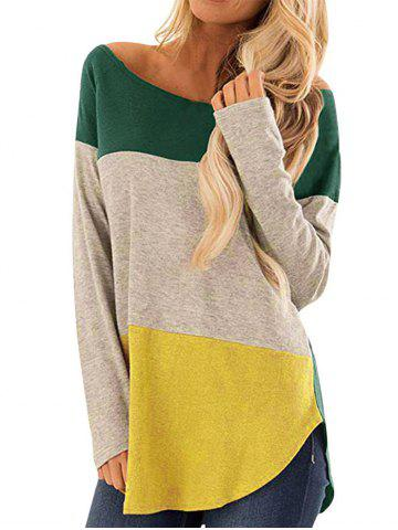 Colorblock Curved Hem Long Sleeve Top