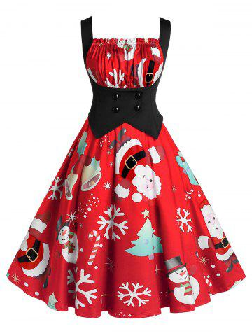 Plus Size A Line Pleated Christmas Printed Dress