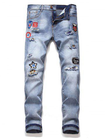 Letter Icon Embroidery Casual Jeans