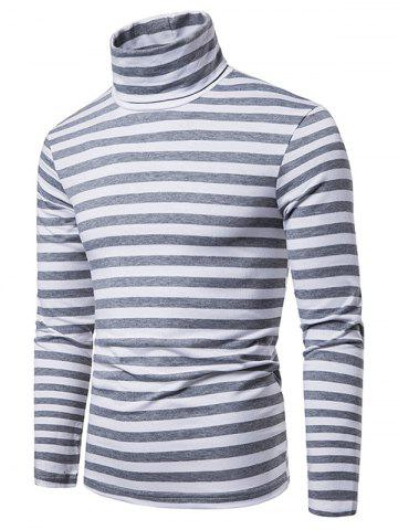 Striped Pattern Long Sleeves Turtleneck T-shirt