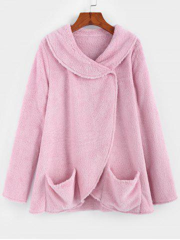 Plain Shawl Collar Tulip Hem Fuzzy Coat