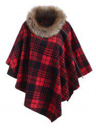 Multiway Faux Fur Collar Plaid Zipper Poncho -