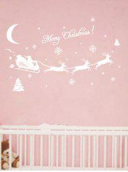 Christmas Elk Sleigh Print Removable Wall Art Stickers -