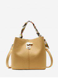 Silk Embellished Hasp PU Leather Bucket Bag -