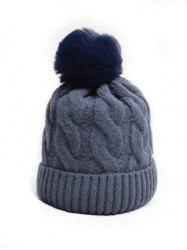 Turn Up Edge Winter Braid Knitted Bobble Hat -