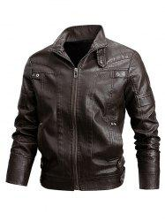 Veste de Motard Zippée Simple en Faux Cuir -
