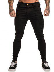 Solid Color Design Skintight Jeans -