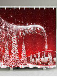 Christmas Tree Star Night Village Pattern Waterproof Bathroom Shower Curtain -