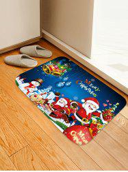 Christmas Santa Claus Snowman Elk Pattern Flannel Water Absorption Area Rug -