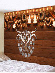 Christmas Elk Wood Grain Print Wall Tapestry -