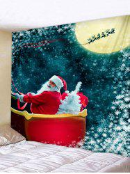 Christmas Santa Claus Moon Night Print Tapestry Wall Hanging Art Decoration -