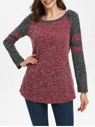 Striped Raglan Sleeve Contrast Ribbed Curved Hem Knitwear -