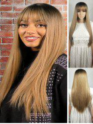 Ombre Long See-through Bang Straight Synthetic Wig -