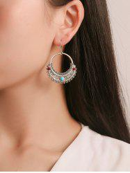 Ethnic Engraved Hollow Out Drop Earrings -
