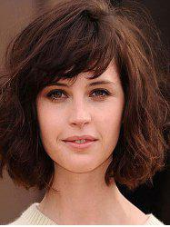 Synthetic Side Bang Bob Curly Wig -