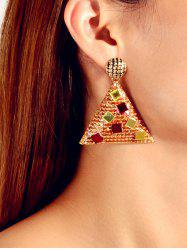Pair of Glitter Geometric Drop Earrings -