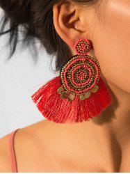 Ethnic Fringe Beads Round Earrings -