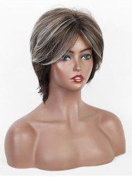 Mix Color Short Straight Synthetic Side Bang Wig -