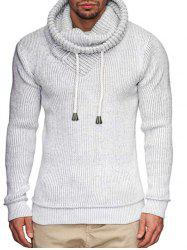 Solid Color Drawstring Design Casual Sweater -