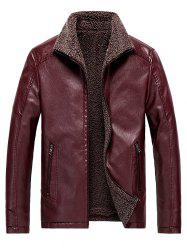 Faux Shearling Lined Zip Up Vinyl Jacket -